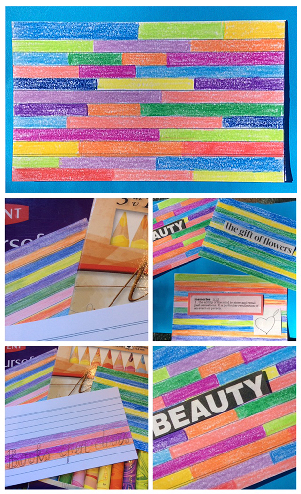 """3x5"""" index cards in COLOuRED Pencils, art by sue maher."""