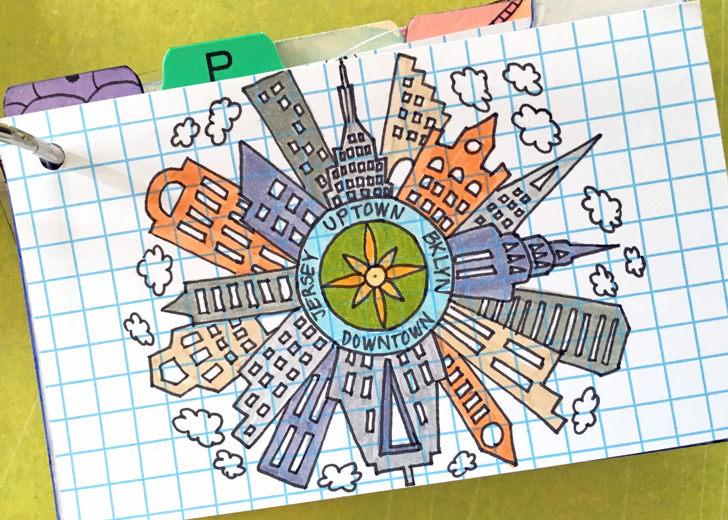 """3x5"""" index card, PITT pens. Art by Lauren Bergold."""