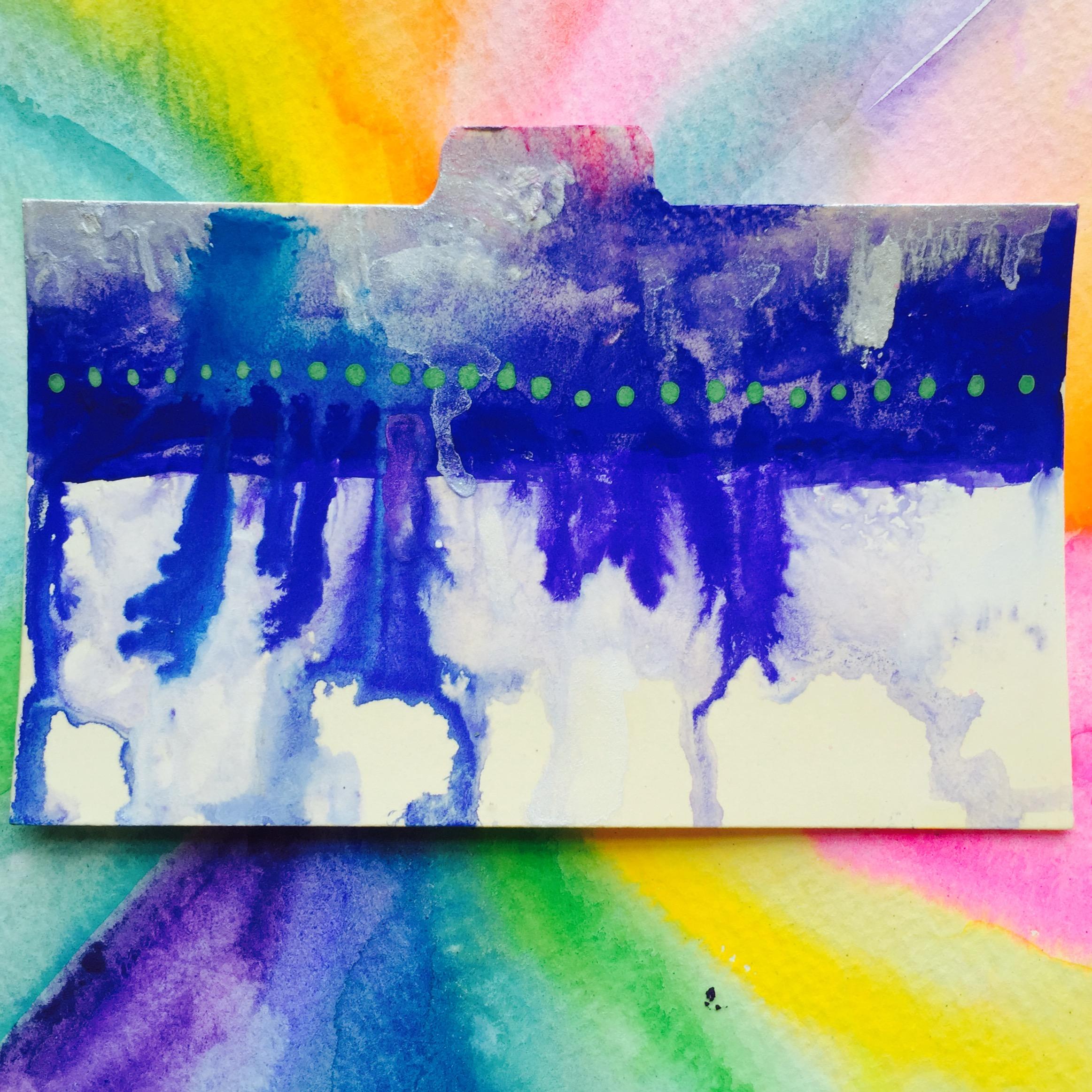"3x5"" index card, gouache. Artwork by Tammy Garcia."