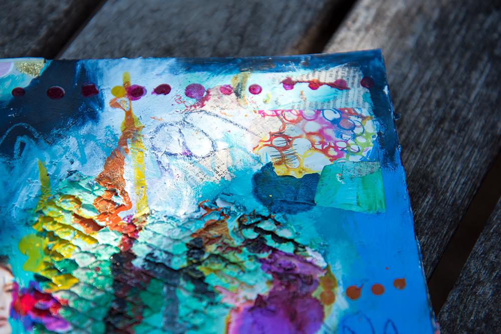 Altered book, artwork by Tammy Garcia. https://daisyyellowart.com