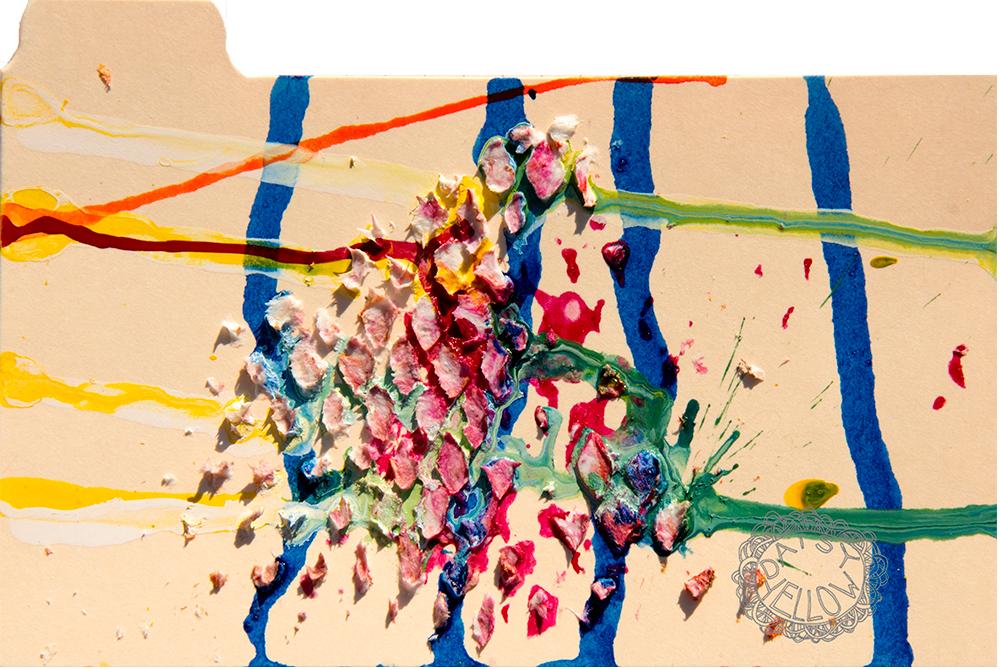 "3x5"" index card, ink, acrylics & fiber paste, artwork by Tammy Garcia."