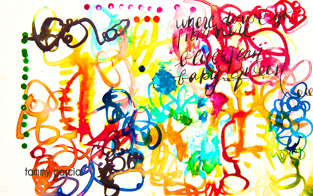 "5x8"" watercolor paper, ink, artwork by Tammy Garcia."