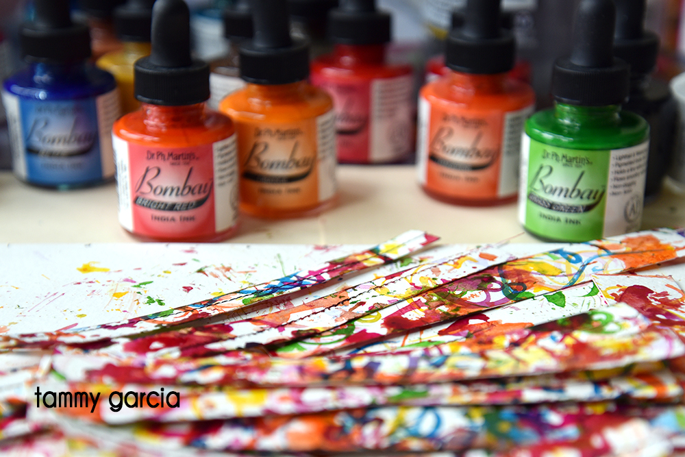 Making groovy collage fodder with india inks.