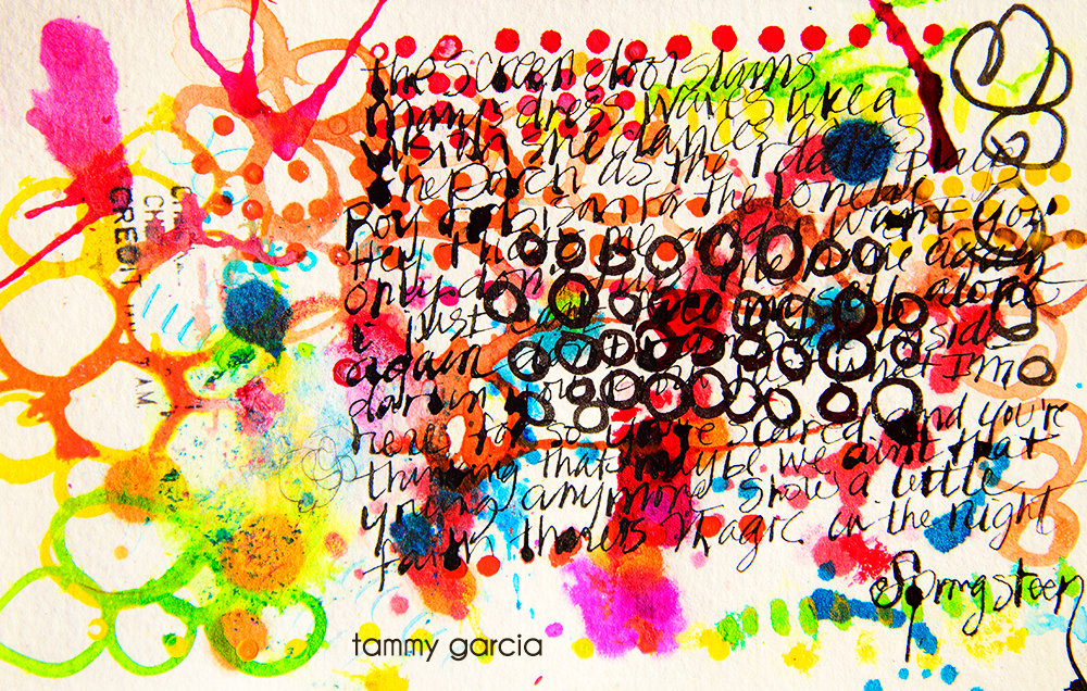 "5x8"" watercolor paper, ink, artwork by Tammy Garcia. Springsteen lyrics."