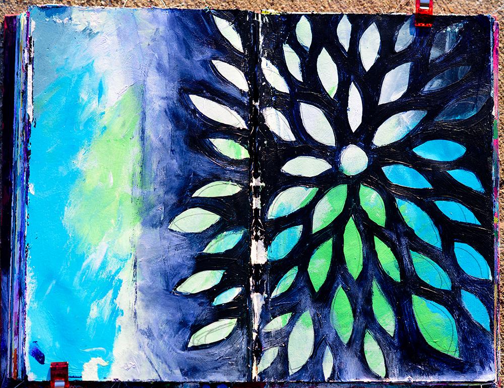 Art journal page, acrylics, artwork by Tammy Garcia.
