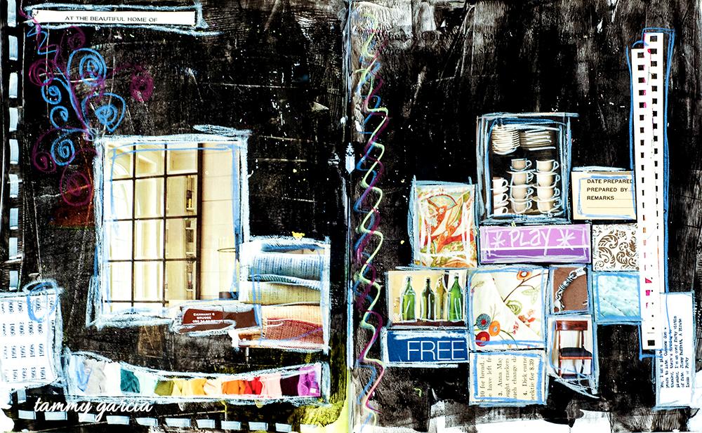 """20x12"""" art journal, black gesso, collage, artwork by Tammy Garcia."""