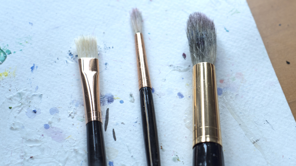 Brushes for acrylics.