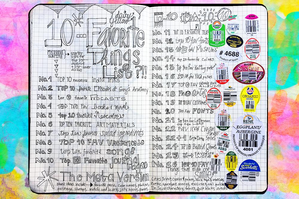 "5x8"" gridded Moleskine joural, List of Top Ten Lists by TammY Garcia"
