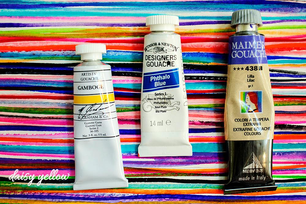 Tubed gouache paints.
