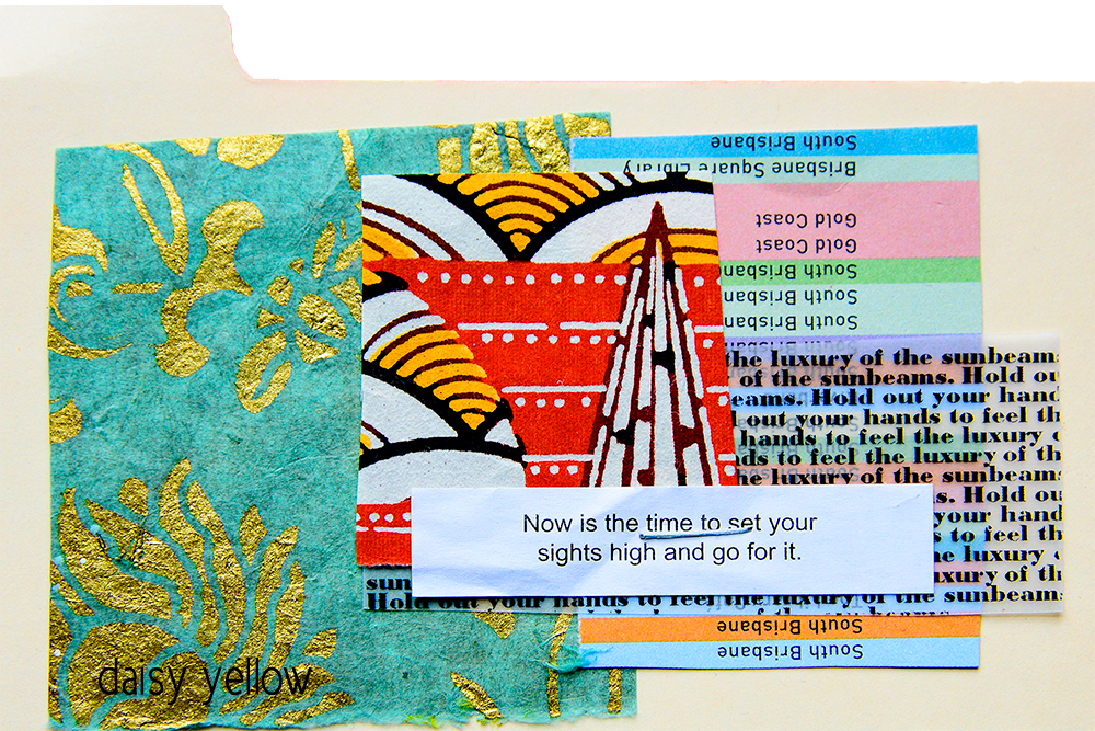 One staple index card collage by Tammy Garcia https://daisyyellowart.com #collage #daisyyellowart