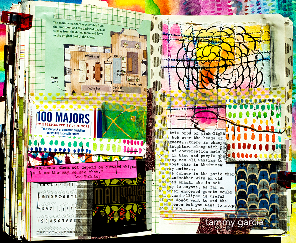 Art journal page by Tammy Garcia https://daisyyellowart.com #artjournal #moleskine #collage