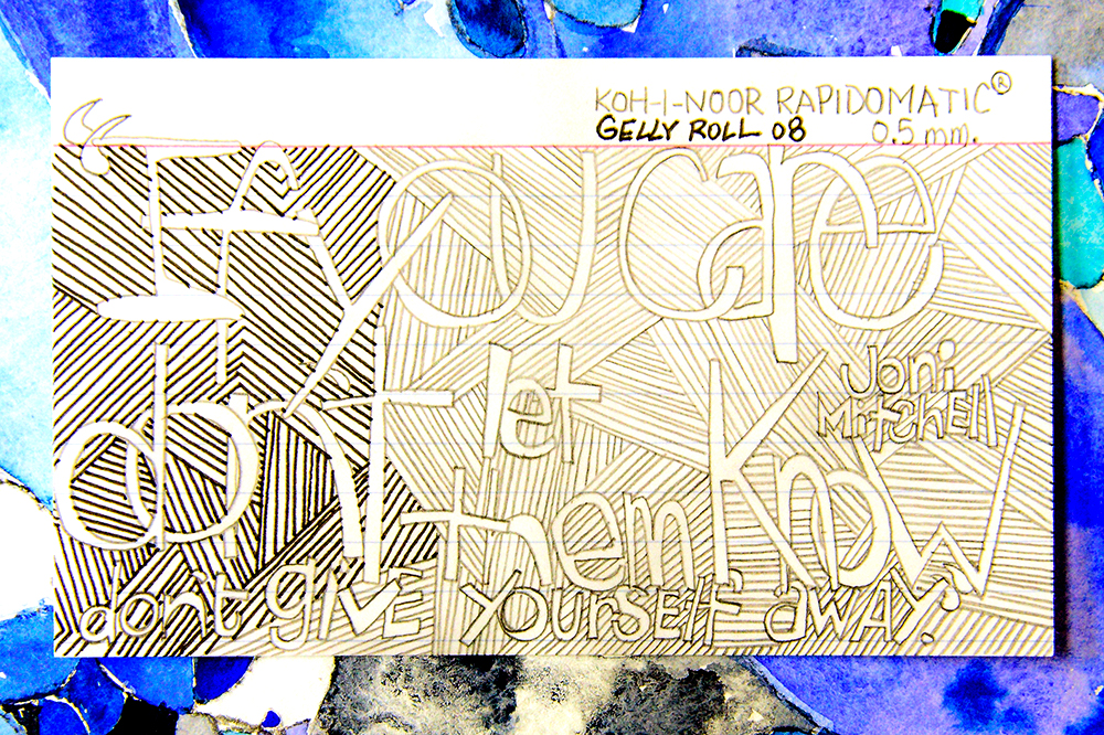 """Vintage Koh-i-Noor Rapidomatic .5MM Pencil and Gelly Roll on 3x5"""" Index Card."""