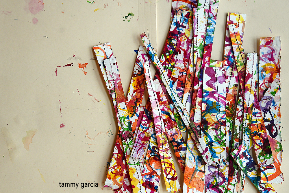 Abstract collage papers with india inks.
