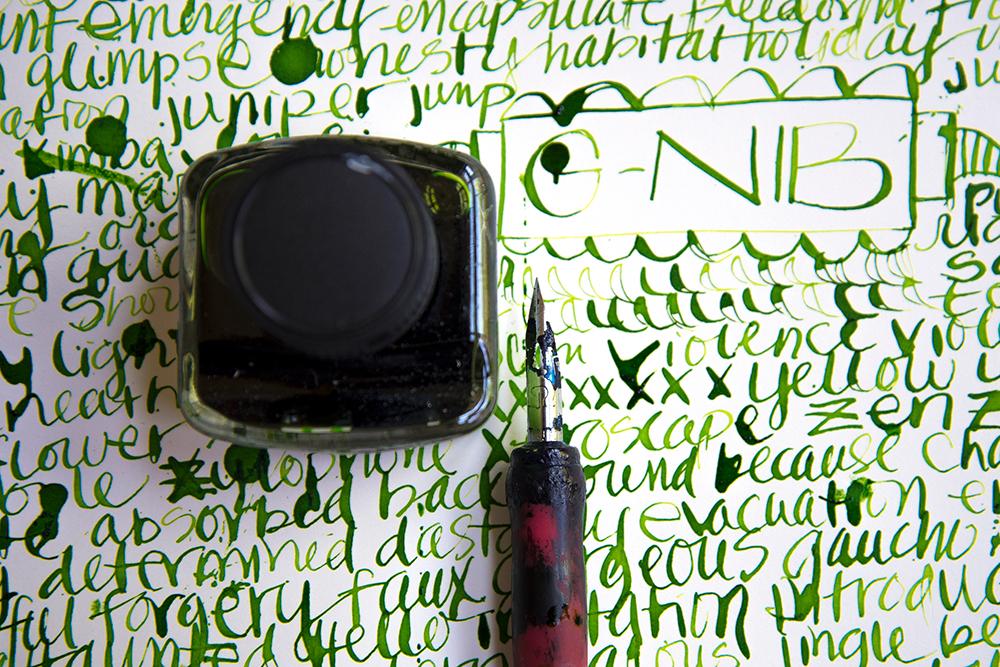J. Herbin Vert Pre ink with G-Nib.
