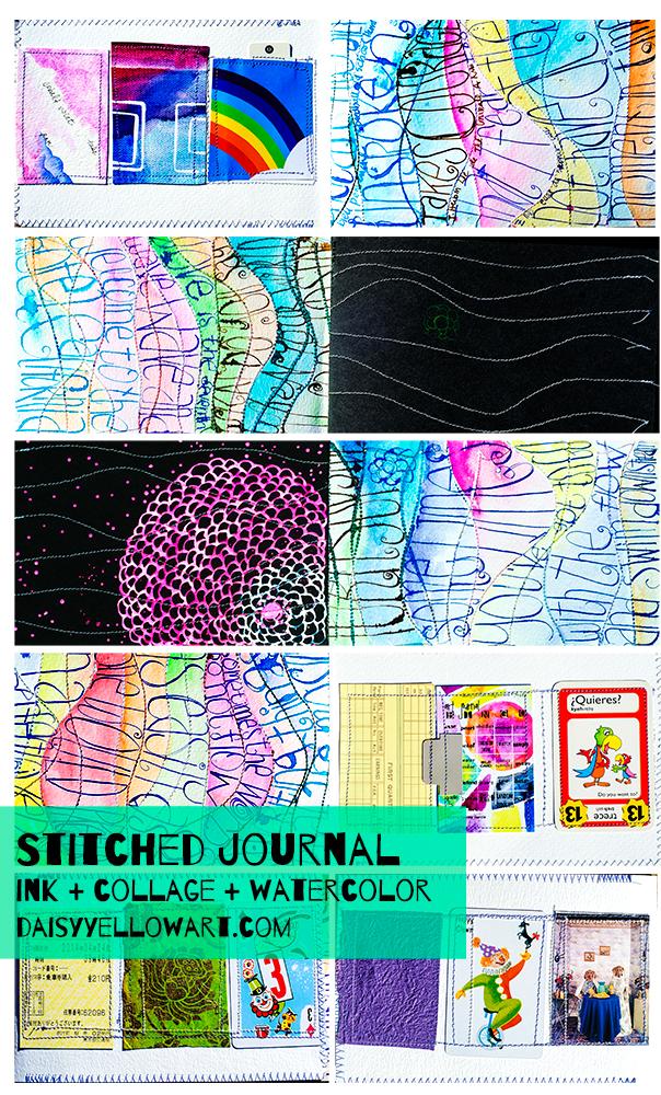 Stitched journal for Inktober by Tammy Garcia.