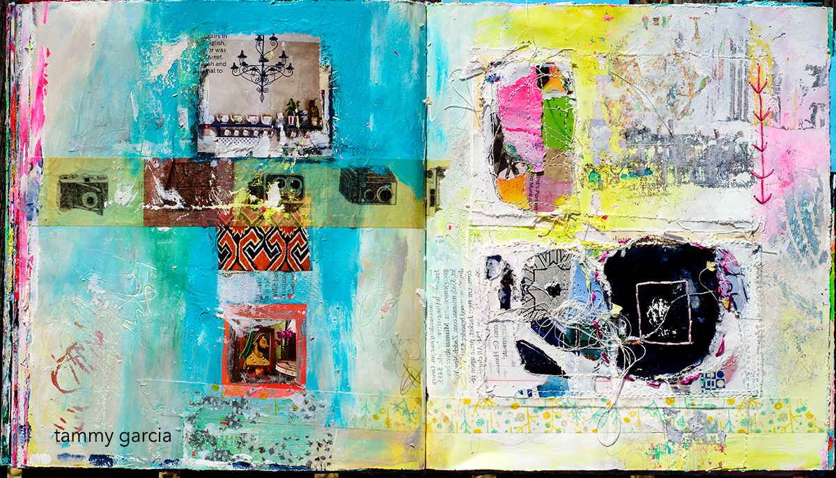 Riffing in my art journal, mixed media altered book by Tammy Garcia daisyyellowart.com.