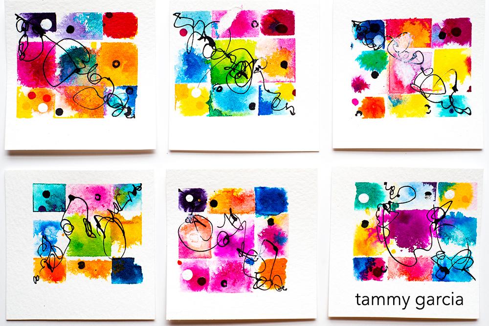 "Polaroid, 3x3"" ink on watercolor paper by Tammy Garcia. https://daisyyellowart.com"