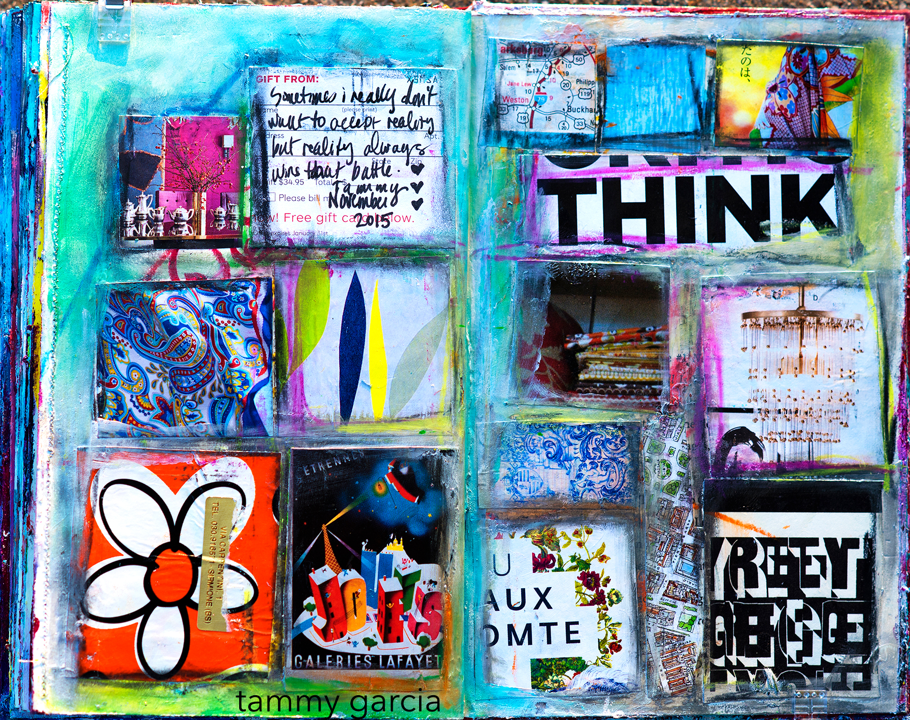 Edging on collage elements with Neocolors. We create this kind of art journal page in my  Novel Approach Workshop !