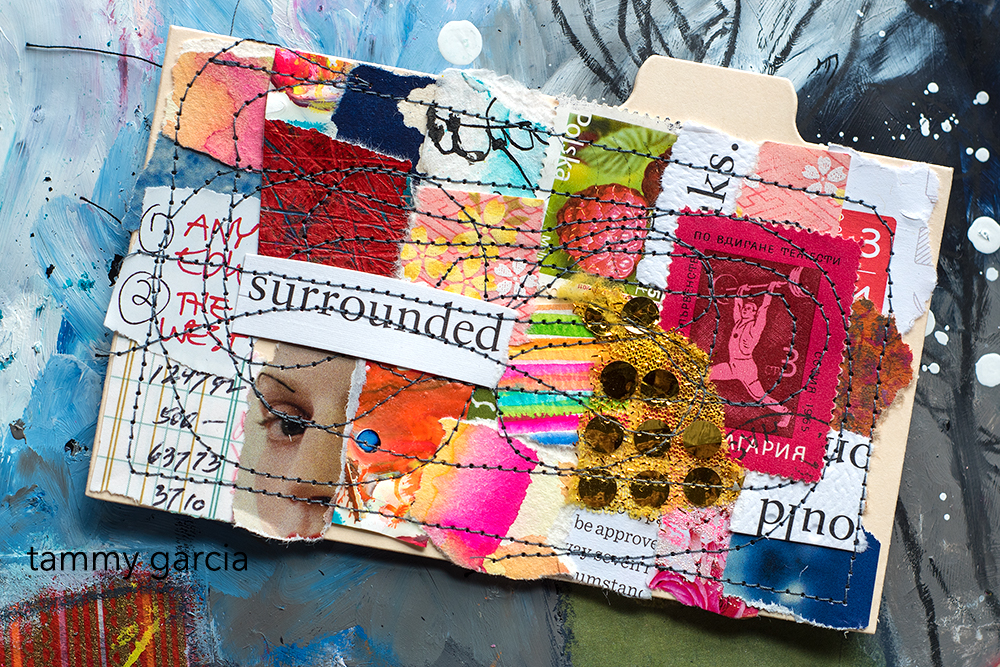 """3x5"""" index card, mixed media collage, tribute to 21 Guns by Green Day."""