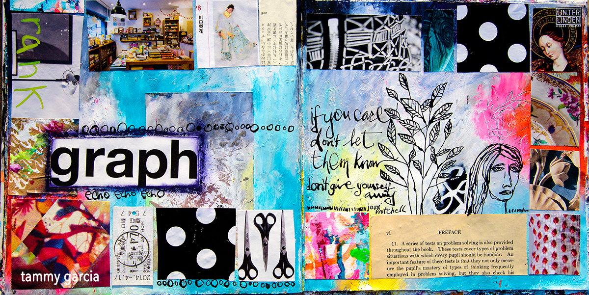 Mixed media art journal collage in an altered book, inspired by Both Sides Now by Joni Mitchell.
