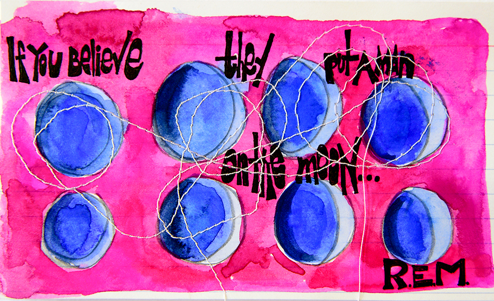 """3x5"""" index card, gouache/ink/stitched, tribute to Man on the Moon by REM.Created for the  CatchPhrase Challenge ."""