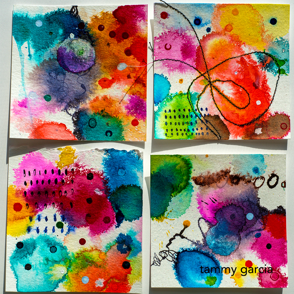 """3x3"""" inked cards for 365 Project by Tammy Garcia https://daisyyellowart.com"""