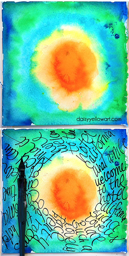 Journaling in circles with a dip pen by Tammy Garcia https://daisyyellowart.com