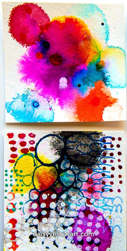 """3x3"""" inked cards by Tammy Garcia https://daisyyellowart.com"""