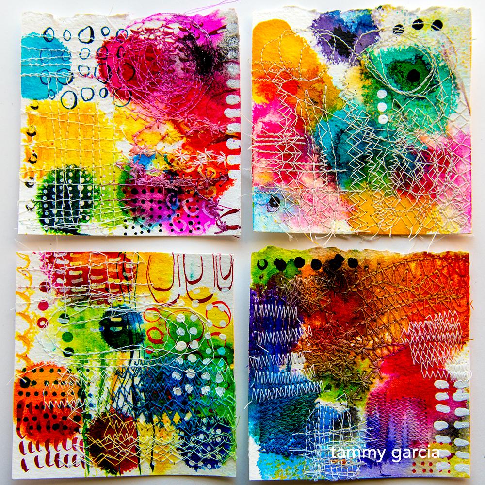 """3x3"""" ink + thread by Tammy Garcia https://daisyyellowart.com"""