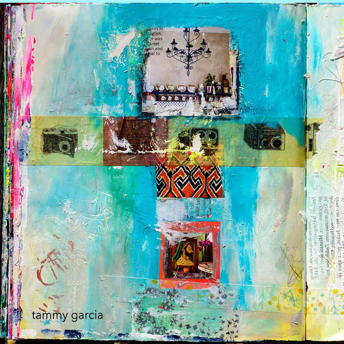 Art journal page by Tammy Garcia https://daisyyellowart.com #alteredbook #artjournal