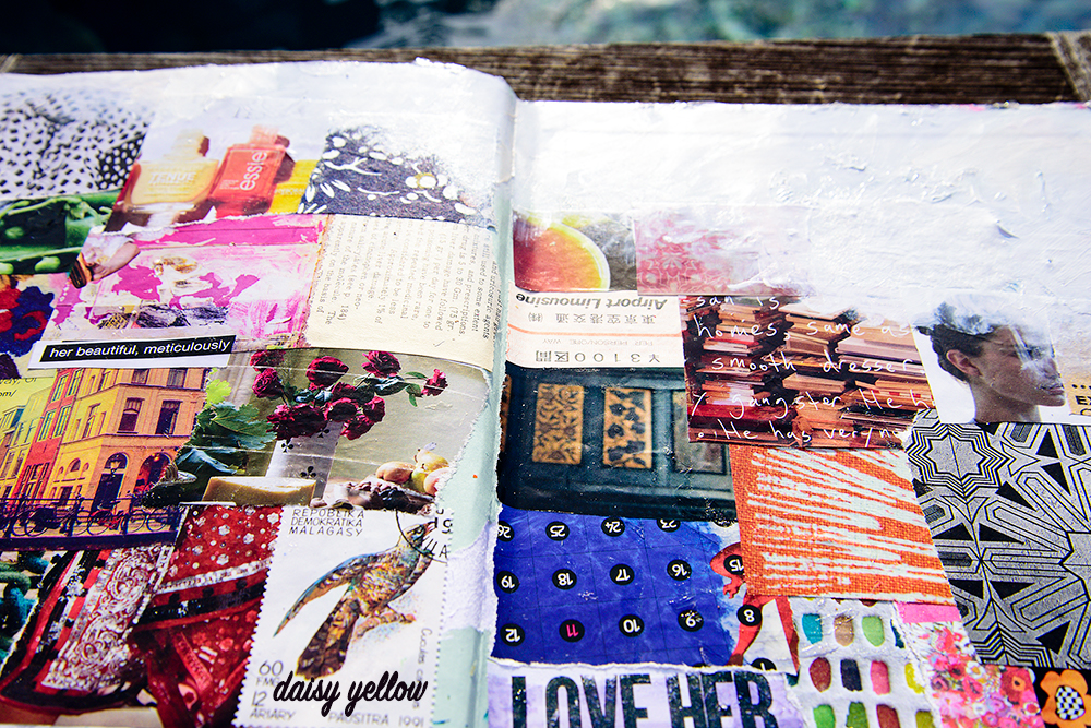 Art journal page by Tammy Garcia https://daisyyellowart.com #collage #artjournal