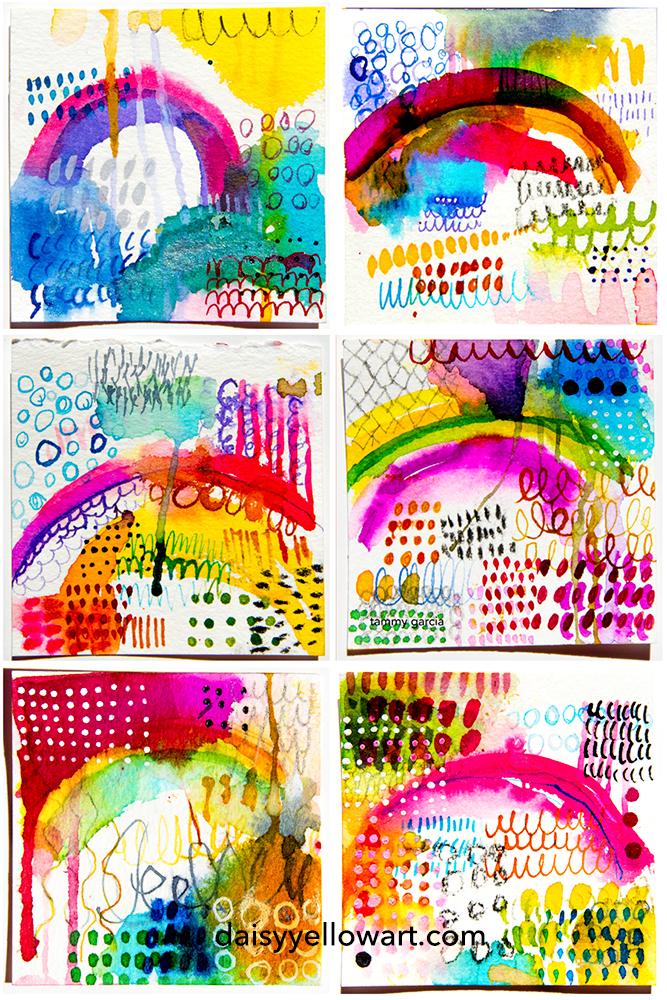 Inky rainbows by Tammy Garcia https://daisyyellowart.com #tinyart #abstractart