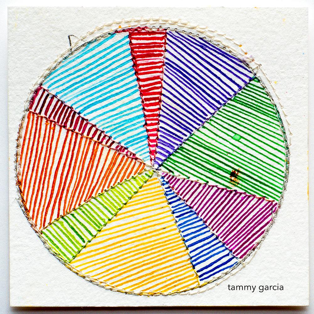Rainbow color wheel in ink by Tammy Garcia https://daisyyellowart.com #piechart #sewingpaper
