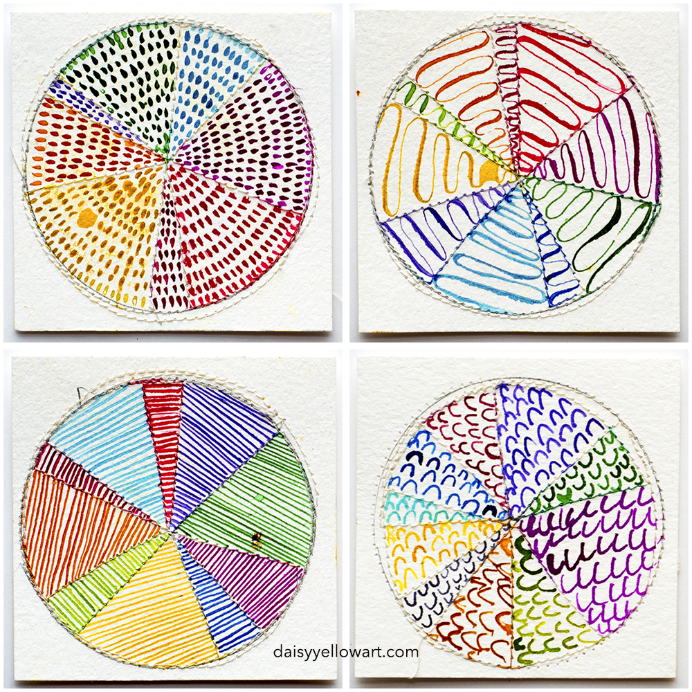 Rainbow color wheels in ink by Tammy Garcia https://daisyyellowart.com #piechart #mixedmedia #sewingpaper
