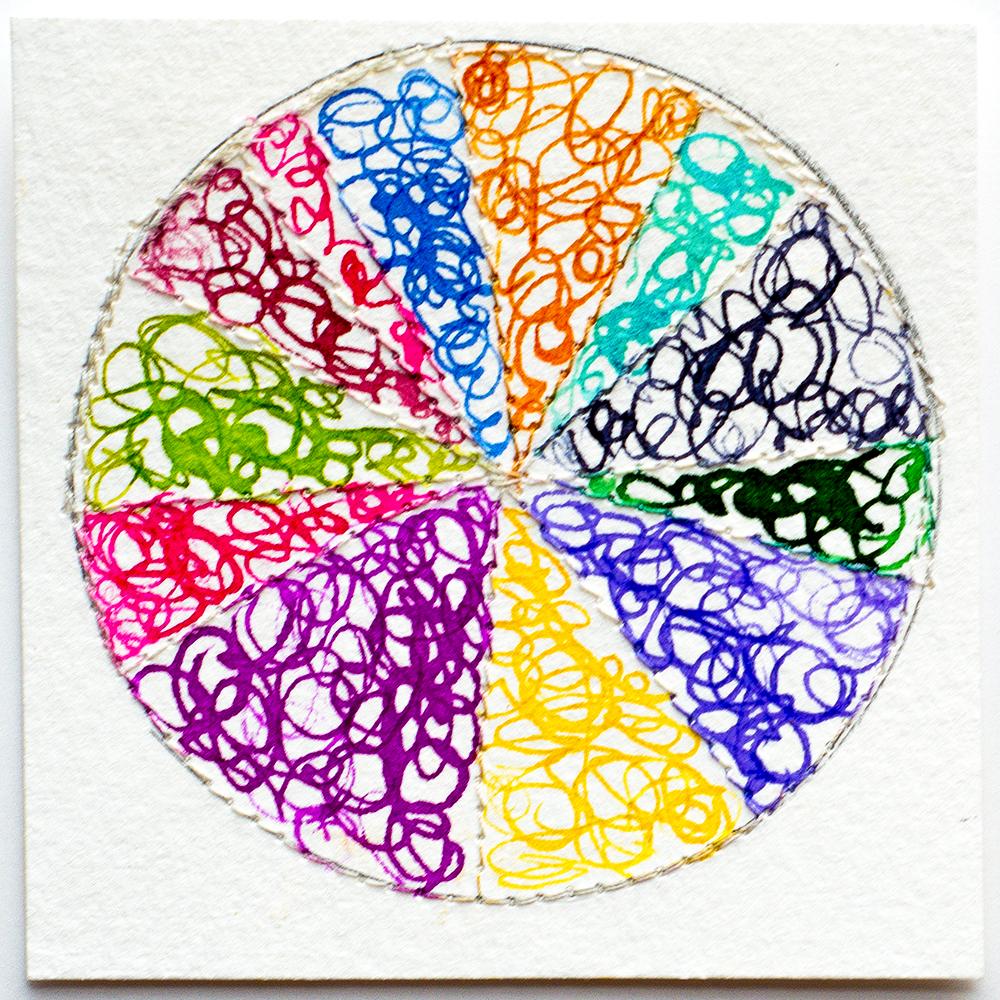 Rainbow color wheel in ink by Tammy Garcia https://daisyyellowart.com #piechart #mixedmedia #patternlove