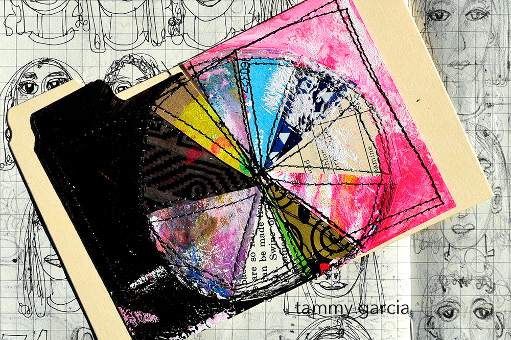 "3x5"" index card, mixed media collage by Tammy Garcia https://daisyyellowart.com"