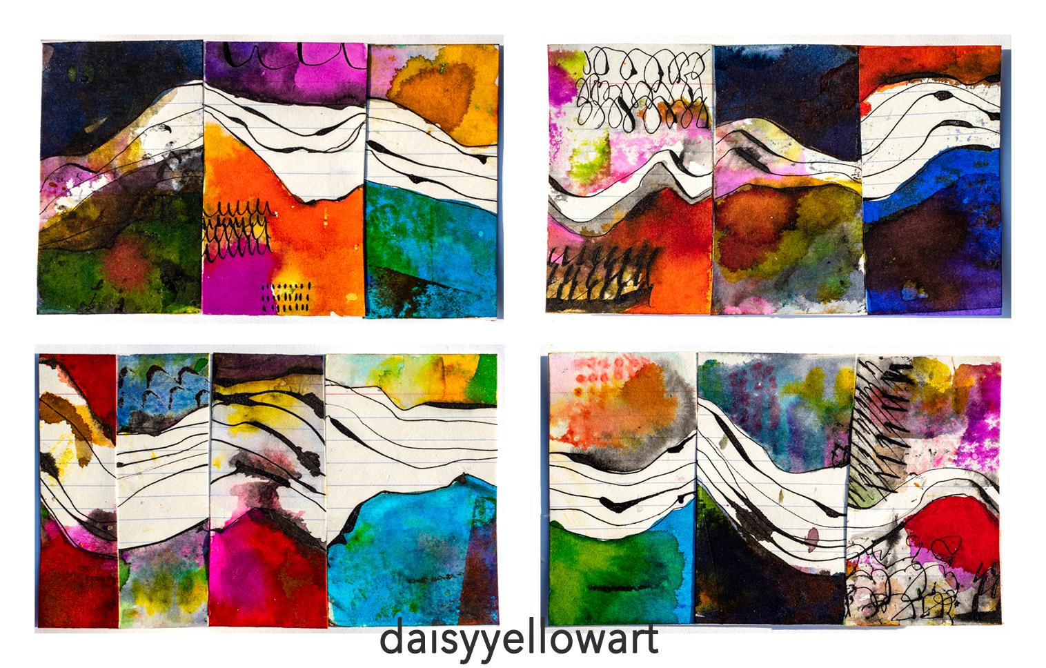 Landscapes 39-42 in ink, https://daisyyellowart.com