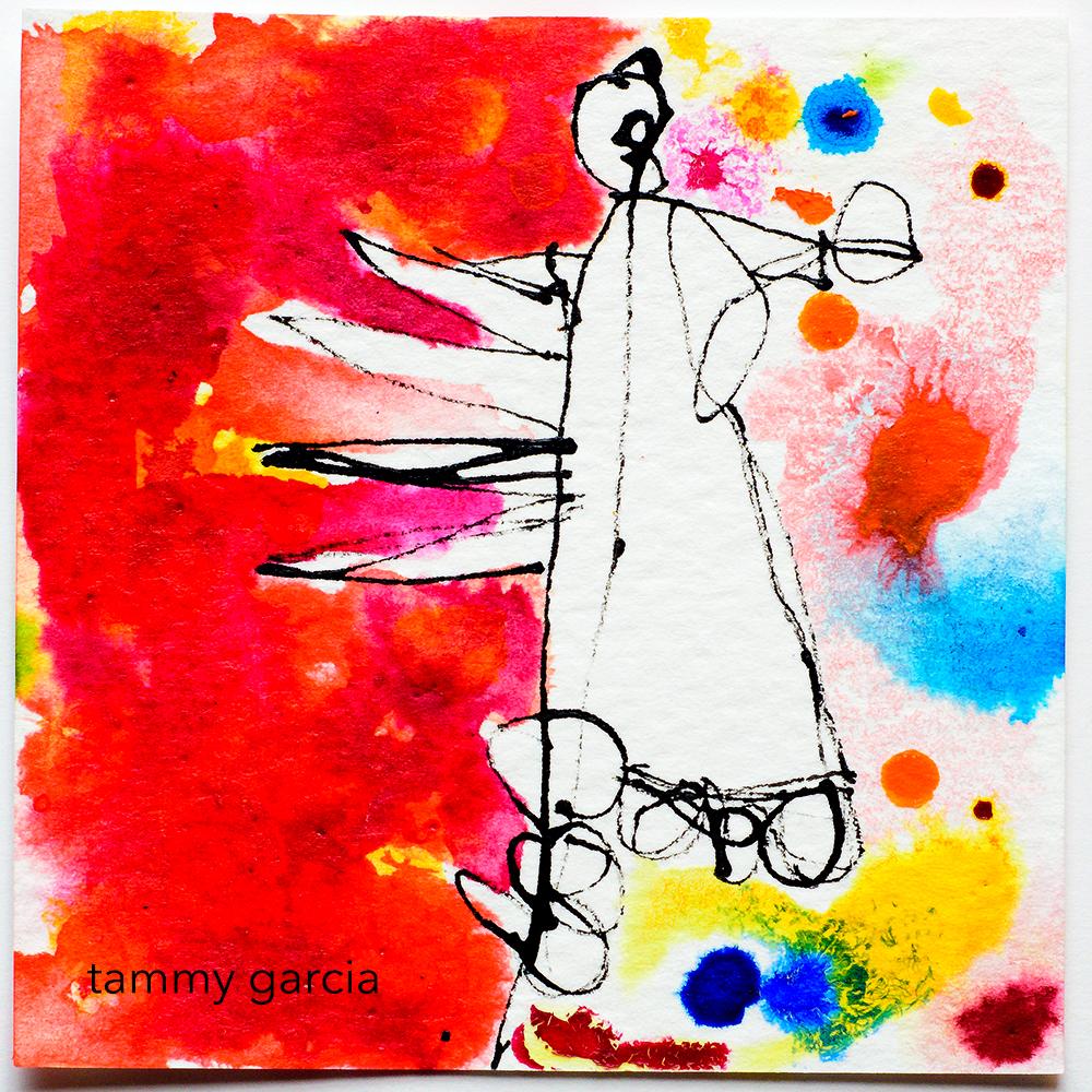 Inked card by Tammy Garcia https://daisyyellowart.com #inktober