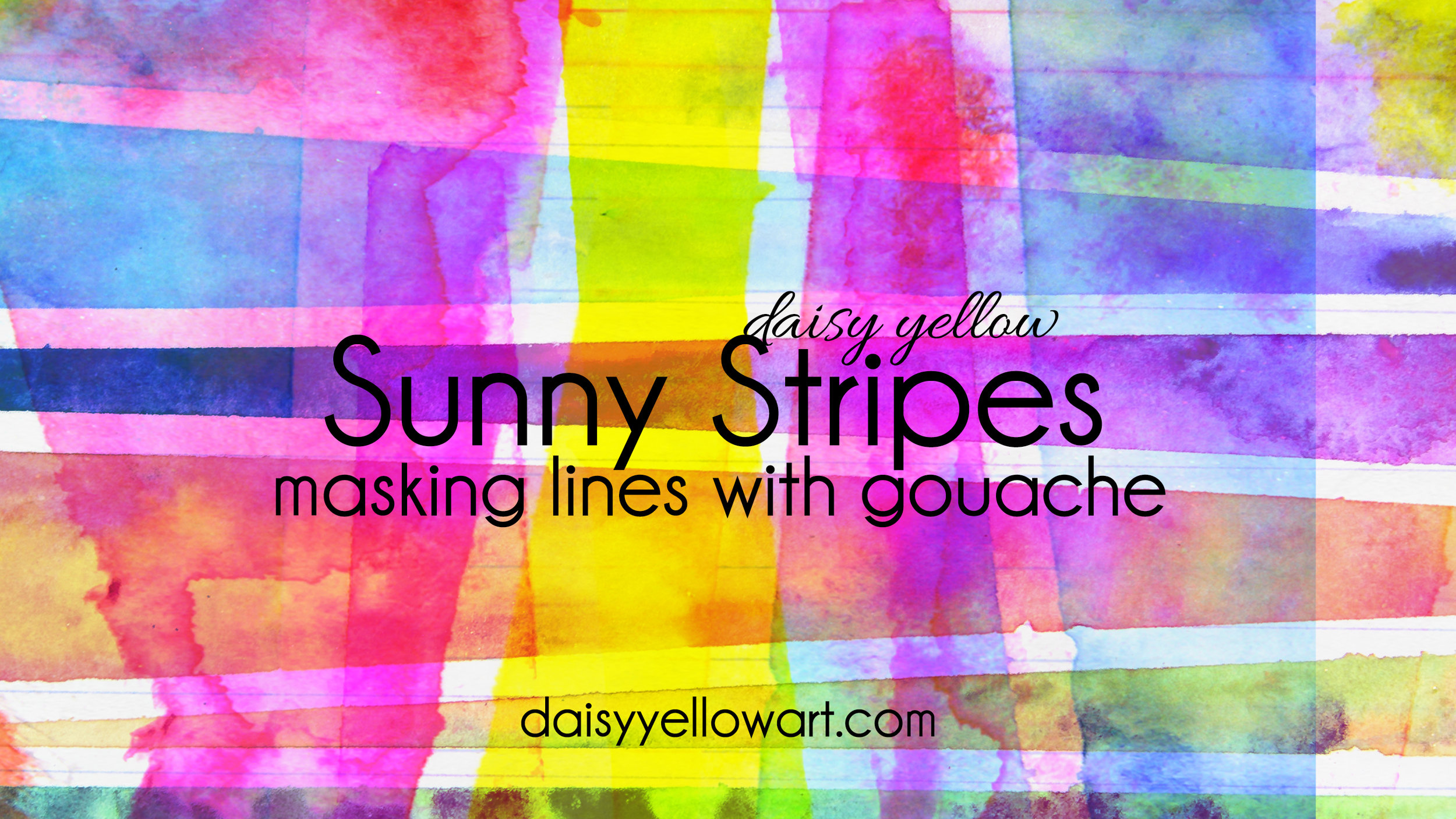 Tutorial:  Paint masked stripes  with gouache or watercolor.