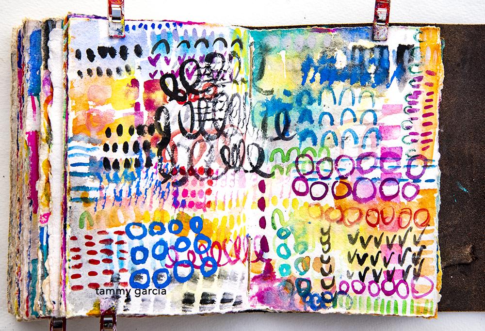 Art journaling in gouache by Tammy Garcia.