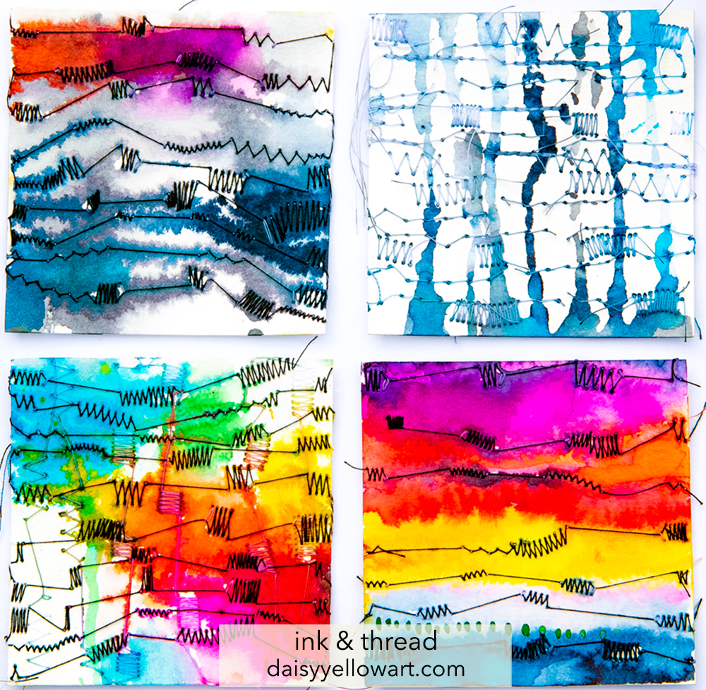Tiny abstracts in ink & thread by Tammy Garcia.