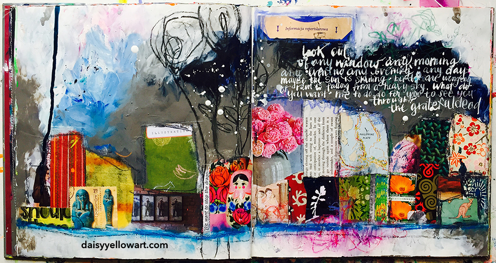 Collage and hand-lettered lyrics in altered book by Tammy Garcia https://daisyyellowart.com #alteredbook #handlettering #collage #artjournal