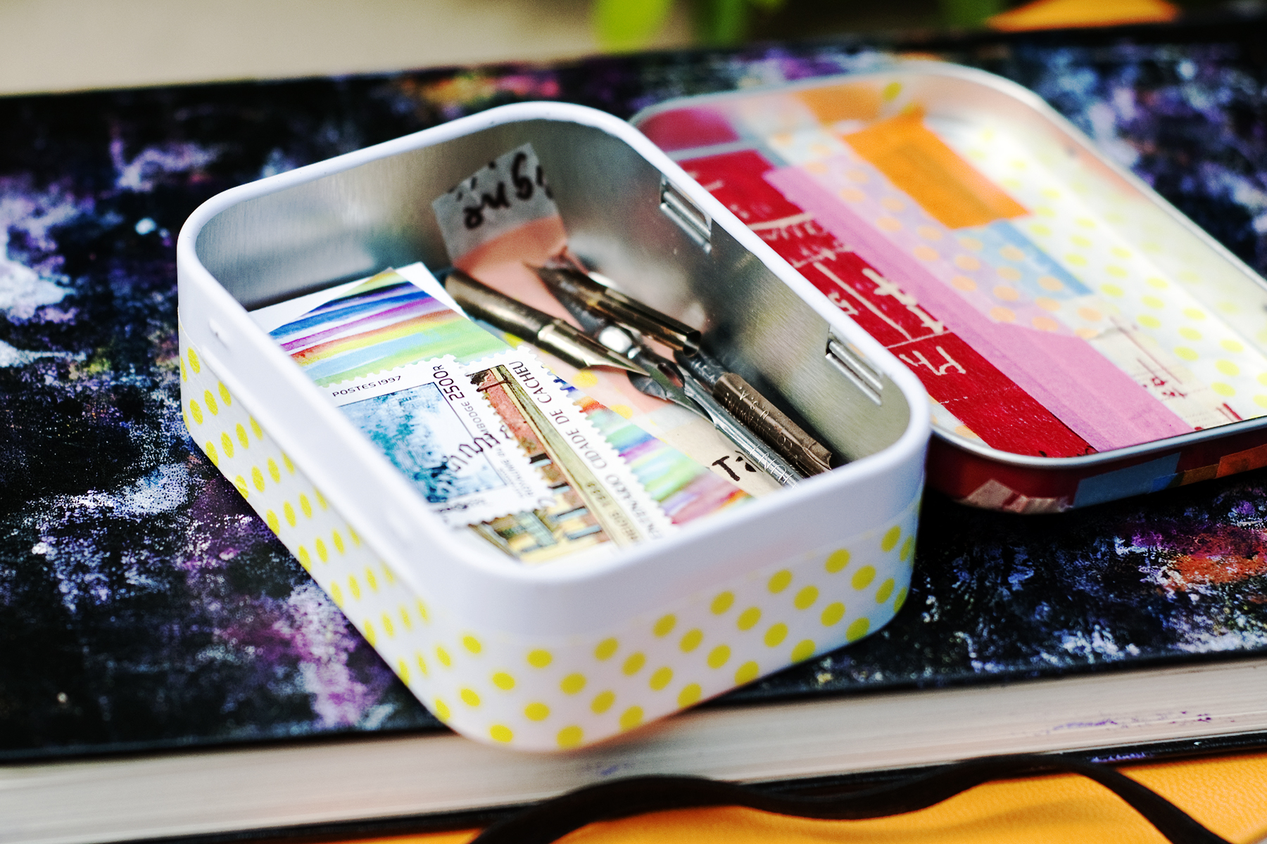 Decorating Altoid tins with washi tape.