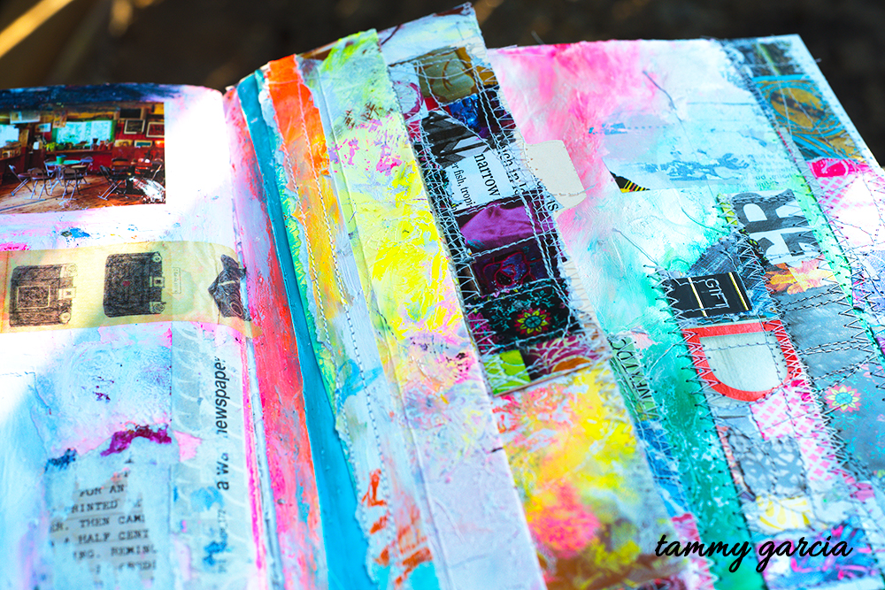 Mixed media art journal page with little stitched flaps by Tammy Garcia