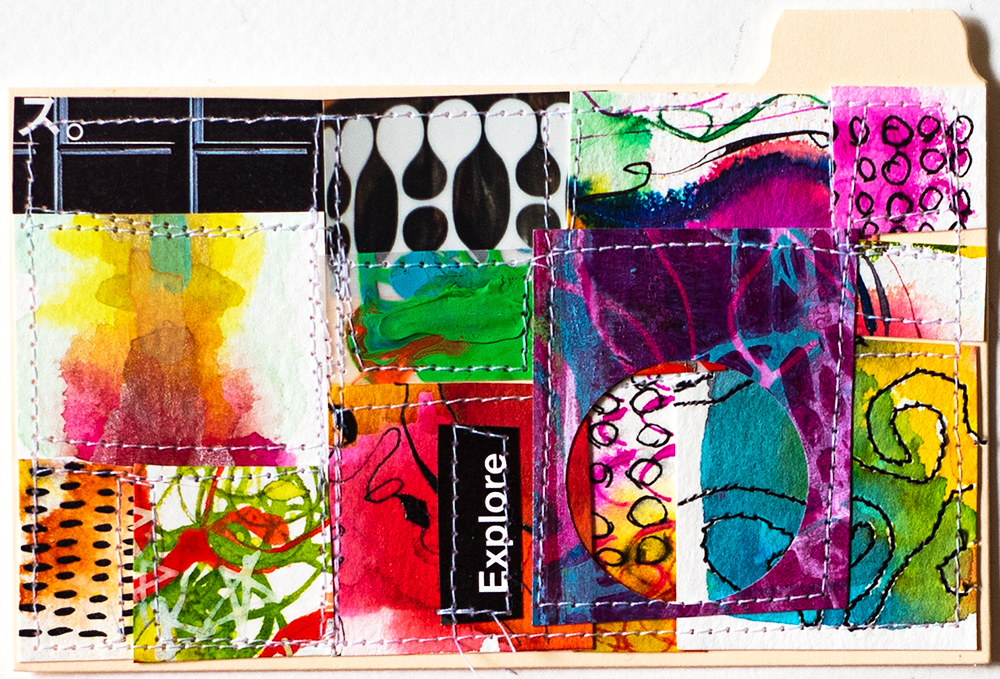 "3x5"" index card, stitched collage by Tammy Garcia"