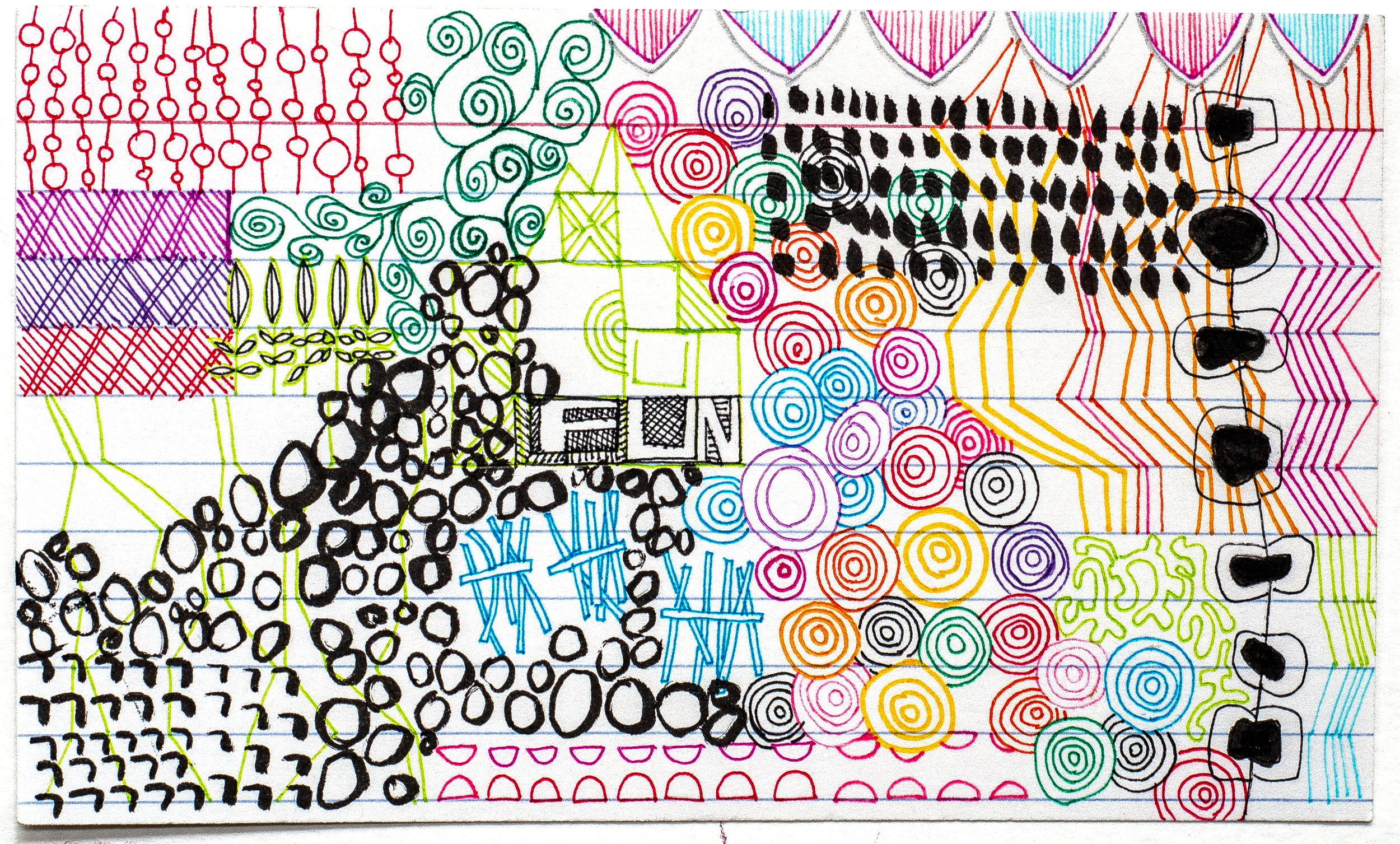 "3x5"" doodles on index card by Tammy Garcia"