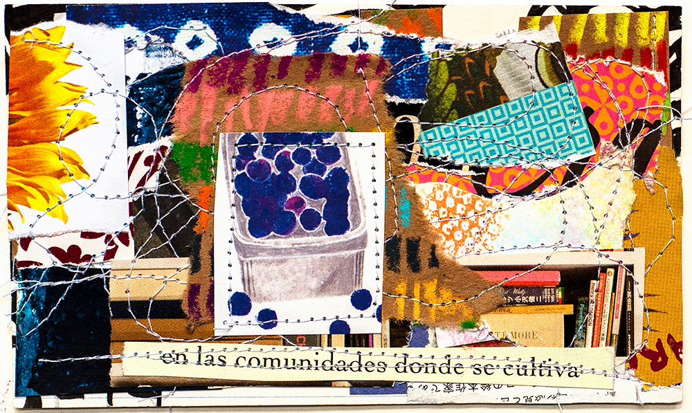"""3x5"""" stitched collage on index card by Tammy Garcia"""