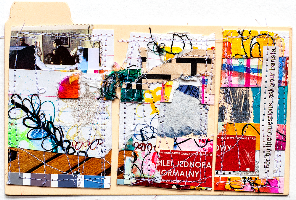 "3x5"" stitched collage on index card by Tammy Garcia"