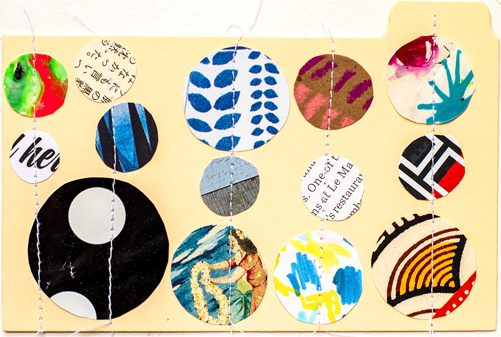 3x5� stitched collages on index cards by Tammy Garcia