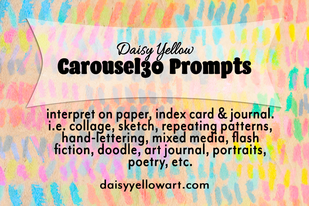 A series of  30 creative prompts , typically a single word or phrase. Interpret on paper, index card & journal. i.e. collage, sketch, repeating patterns, hand-lettering, mixed media, flash fiction, doodle, art journal, portraits, poetry, etc.